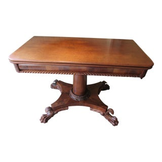 American Empire Period Carved Mahogany Flip-Top Game Table For Sale