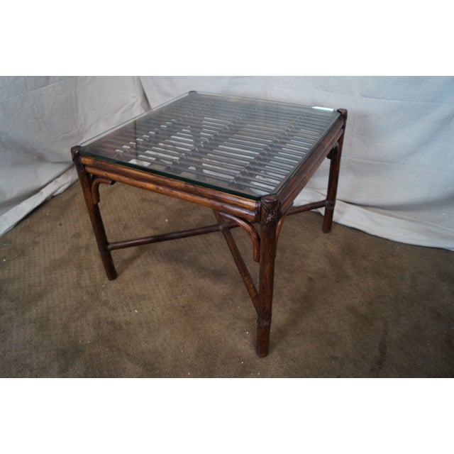 McGuire Rattan Bamboo Square Glass Top Side Table - Image 2 of 10