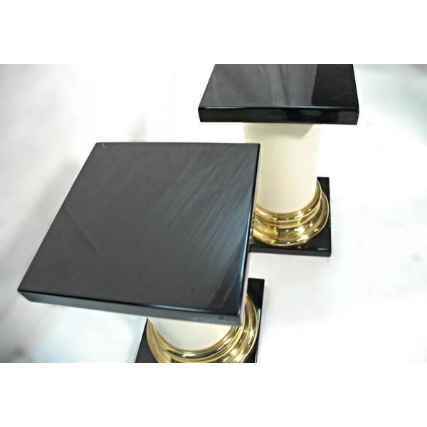 Mastercraft Mid-Century Modern Lacquer Brass Pedestal Tables - A Pair For Sale - Image 4 of 9