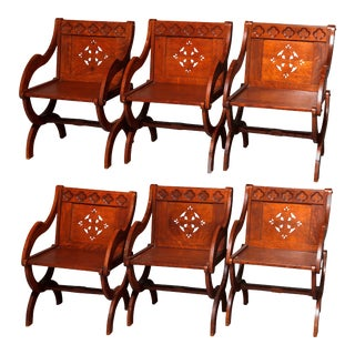 6 Antique Gothic Carved & Cut-Out Oak Curule Form Armchairs, circa 1900 - Set of 6 For Sale