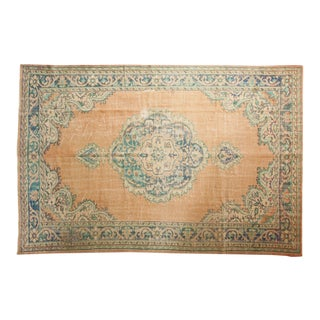 "Vintage Distressed Oushak Carpet - 7'2"" X 10'9"" For Sale"