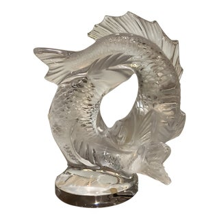 Lalique Double Fish Sculpture With Glass Base For Sale