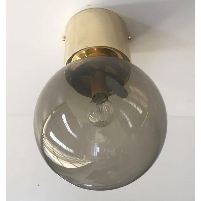 Italian modern flush mount with smoky Murano glass globe and chic polished brass finish / Designed by Fabio Bergomi for...