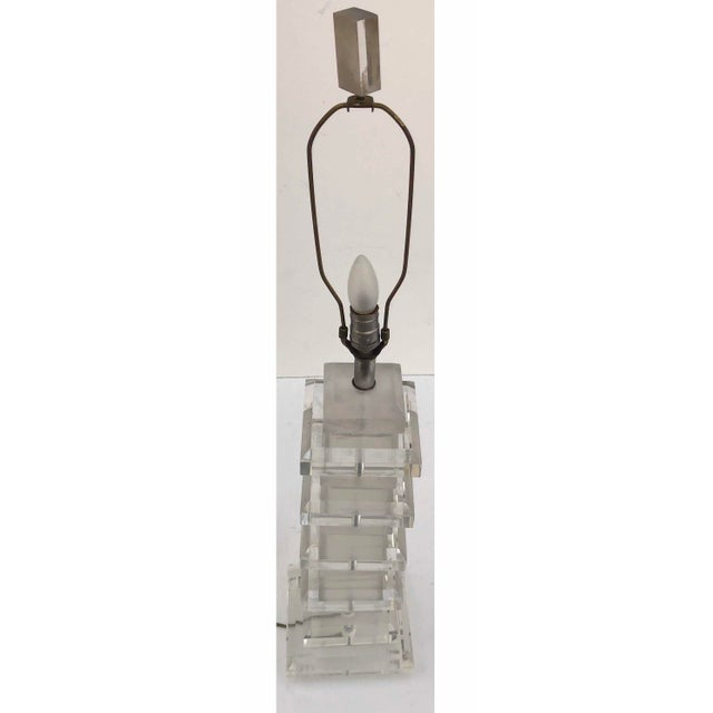 Modern Karl Springer Style Lucite Table Lamp For Sale - Image 3 of 5
