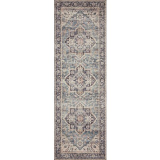 """Loloi Rugs Hathaway Navy Blue/Multi 2'-6"""" x 7'-6"""" Area Rug For Sale"""