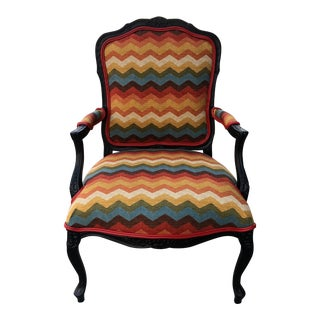 1940's Traditional French Lounge Chair With New Multicolored Upholstry For Sale