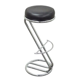 Vintage Mid Century Italian Chrome Z Bar Stool