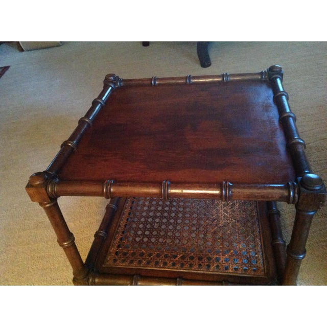 Caning Mid 20th Century Faux Wood Bamboo Table For Sale - Image 7 of 11