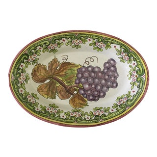 Large Portuguese Hand Painted Oval Platter With Grapes For Sale