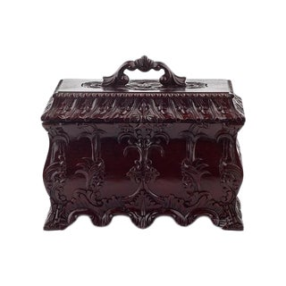Mahogany Hand-Carved Jewelry Box For Sale