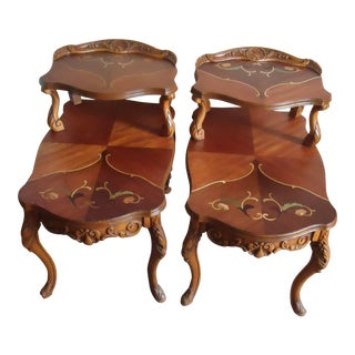 Vintage French Louis XV Carved Inlay Wood Two-Tier End Tables - Pair For Sale