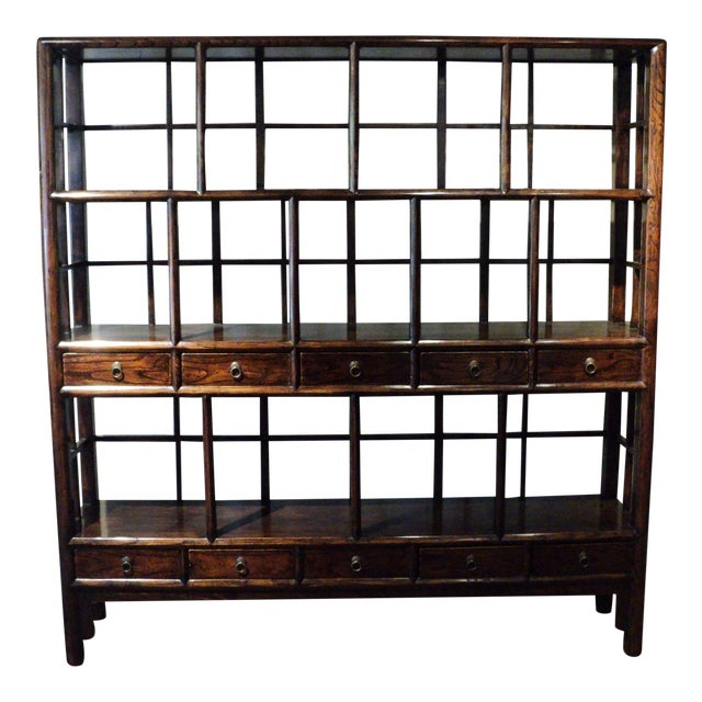 Large Antique Chinese Solid Wood Multi Drawer Etagere - Image 1 of 11