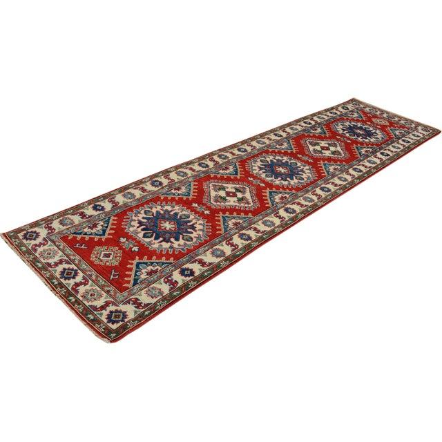 """Kazak Garish Zane Red Ivory Wool Rug - 2'"""" x 9'9"""" For Sale - Image 5 of 8"""