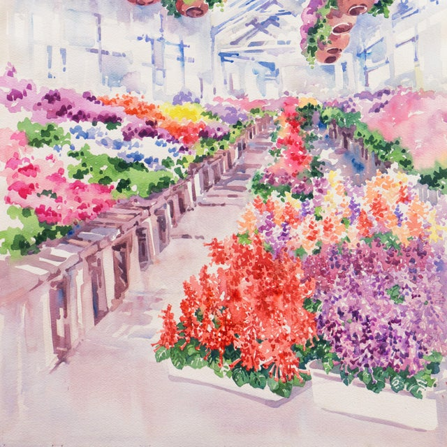 'Flowers in the Greenhouse' by Charlotte Britton, California Woman Artist, American Watercolor Association For Sale - Image 6 of 8