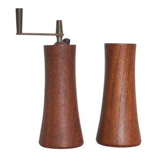 Teak Wood Salt Shaker Pepper Mill by Laurids Lonborg of Denmark - a Pair For Sale