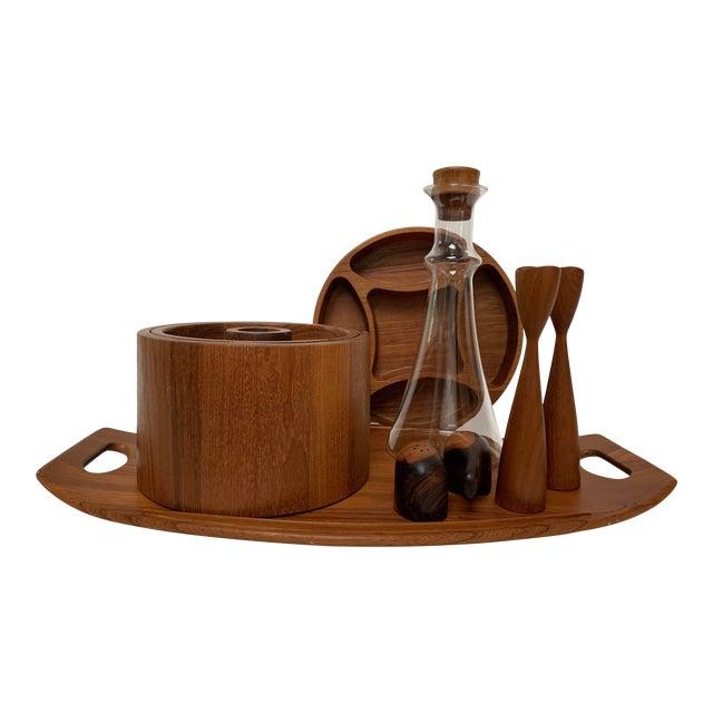 Vintage Mid-Century Modern Danish Teak Barware Tray and Serving Set For Sale
