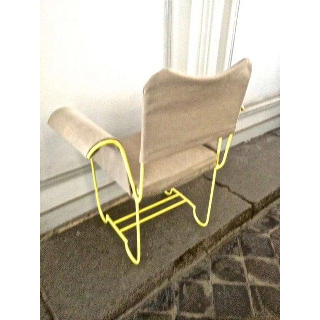 "Mathieu Matégot Mathieu Mategot Rare Set of 4 Arm Chairs Model ""Tropiques"" For Sale - Image 4 of 7"