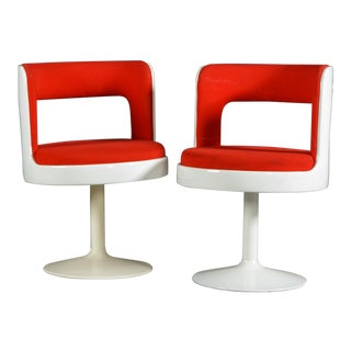 1970s Mid-Century Modern Red & White Easy Chairs - A Pair