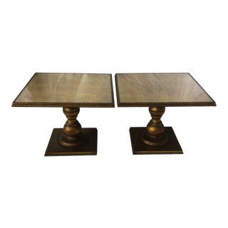 Pair of Wood Gold Gilded Regency Side Tables With Removable Glass Top For Sale
