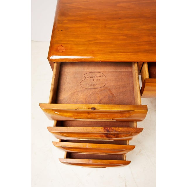 Midcentury Sculptured Pine Desk by the Franklin Shockey Company For Sale In Atlanta - Image 6 of 13
