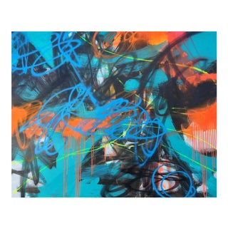 """Mirtha Moreno """"Cold Crush"""" Contemporary Abstract Spray Paint & Oil Painting For Sale"""