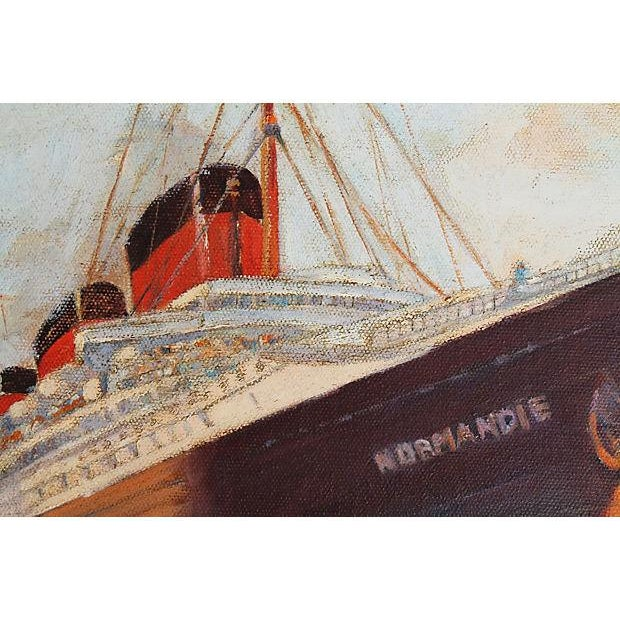 Blue French Oil Painting S S Normandie Oceanliner For Sale - Image 8 of 8