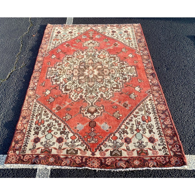 1960s Vintage Persian Hamadan Rug - 4′5″ × 6′6″ For Sale - Image 13 of 13
