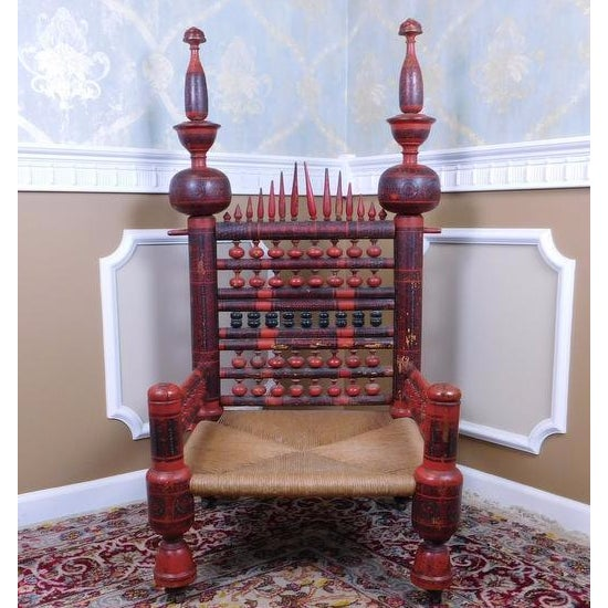 Antique Indian Sankheda Red Lacquered Armchair - Image 3 of 10