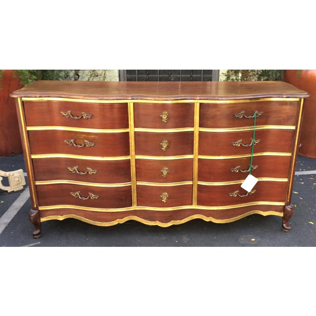 Superb Antique Walnut & Gilt-wood Buffet or Chest of Drawers IN EXCELLENT CONDITION!!! This wonderful buffet or chest of...