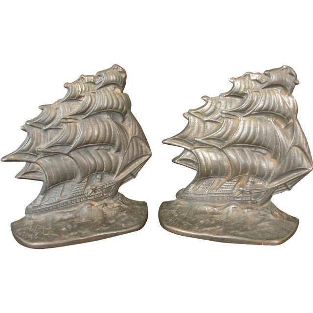 Vintage Cast Iron Ship Bookends - A Pair - Image 1 of 6