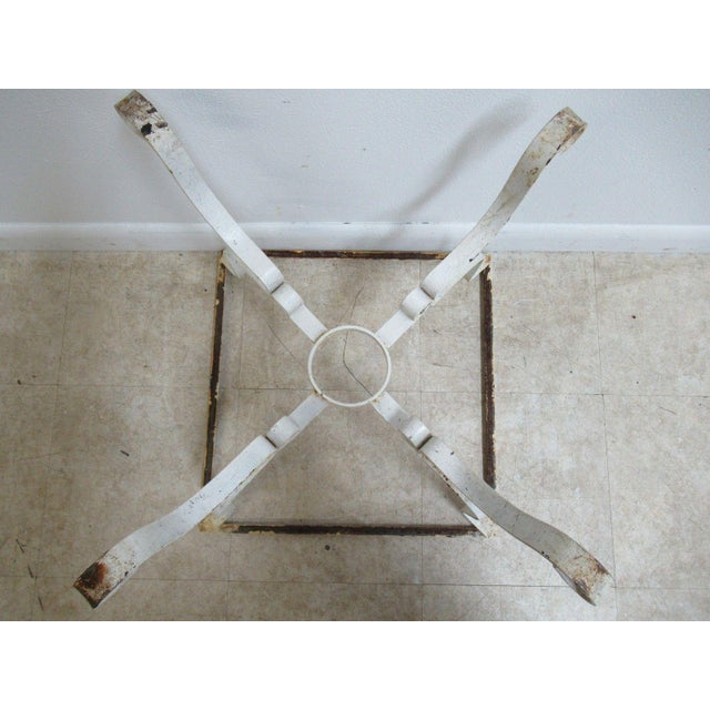 Vintage French White Outdoor Square Patio End Table For Sale - Image 10 of 11