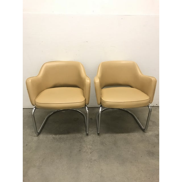 Mid-Century Modern Eero Saarinen Style Chairs - a Pair For Sale - Image 3 of 11