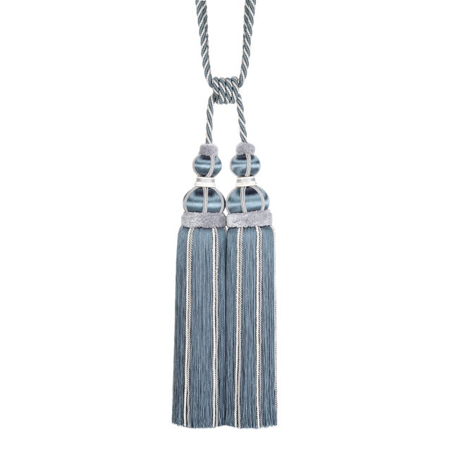 Blue Slate Double Tassel Tieback With Cut Ruche - H 17 Inches For Sale In Charlotte - Image 6 of 6