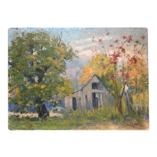 1940s Fall Country Landscape With Barn Oil Painting For Sale