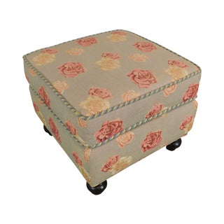 Custom Floral Rose Upholstered Square Ottoman For Sale