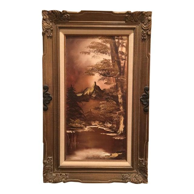 Brown Landscape Palette Knife Oil by Martha Wills For Sale