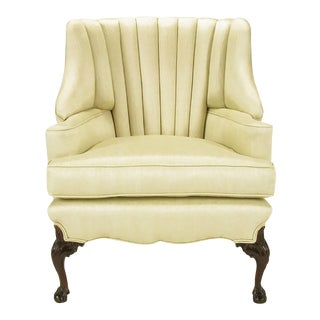 1930s Channel Back Claw Foot Georgian Wingback Chair For Sale