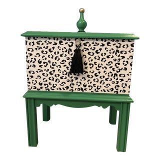 Leopard Motif Black and White Chest For Sale