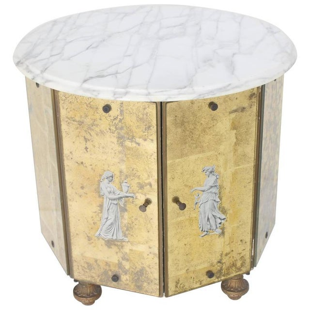 Brass Mid-Century Modern Reversed Gold Leaf Mirrored Marble-Top Round Drum Shape Stand Cabinet For Sale - Image 7 of 8