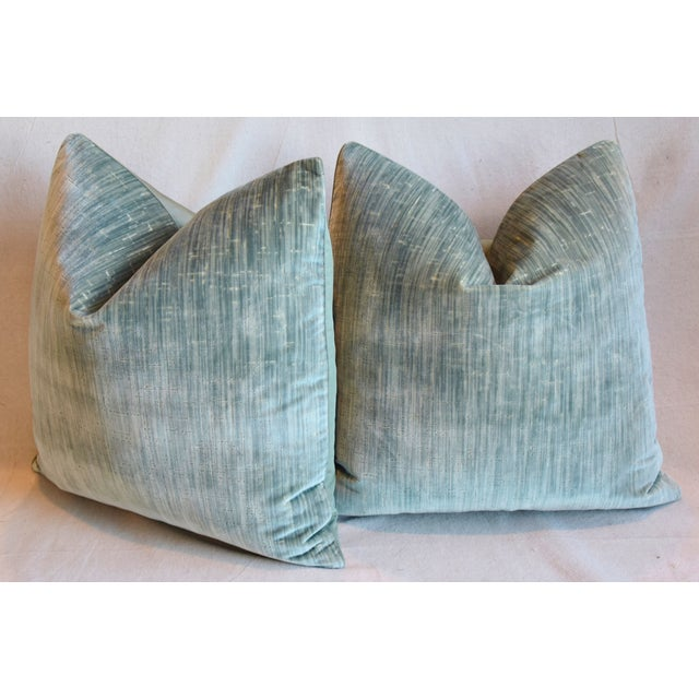 """Clarence House Velvet Fabric Feather/Down Pillows 21"""" Square - Pair For Sale - Image 9 of 13"""