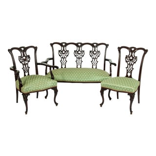 Chippendale Style Mahogany Wood Frame 3-Piece Salon Suite For Sale