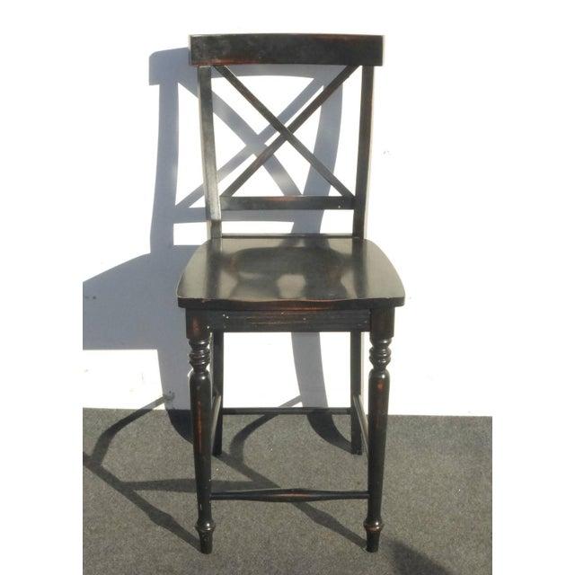 Black Modern Wood Bar Stools - Set of 4 - Image 6 of 11