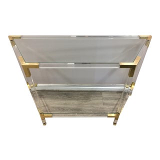 Regency Lucite Acrylic and Brass Console Table For Sale