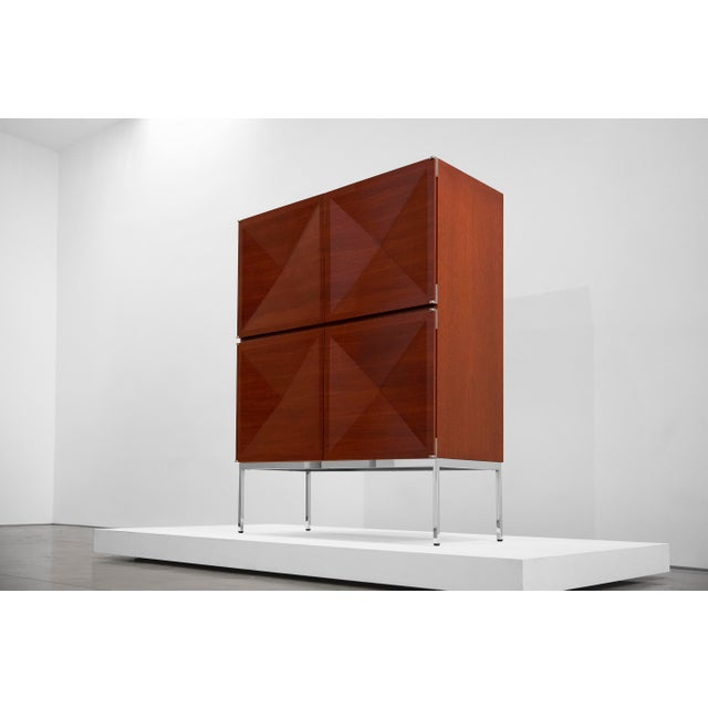 Antoine Philippon and Jacqueline Lecoq, Cabinet, 1307 Series, Edition Erwin Behr, C. 1962, Mahogany, Pressed Plywood, Chrome-Plated Steel For Sale - Image 4 of 9