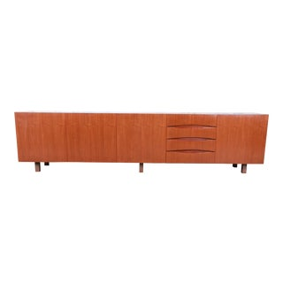 Arne Vodder Style Monumental Danish Modern Teak Sideboard Credenza or Bar Cabinet, Circa 1960s For Sale