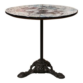 Mid-20th Century Italian Iron and Marble Pedestal Table With Mosaic Horse Motifs For Sale