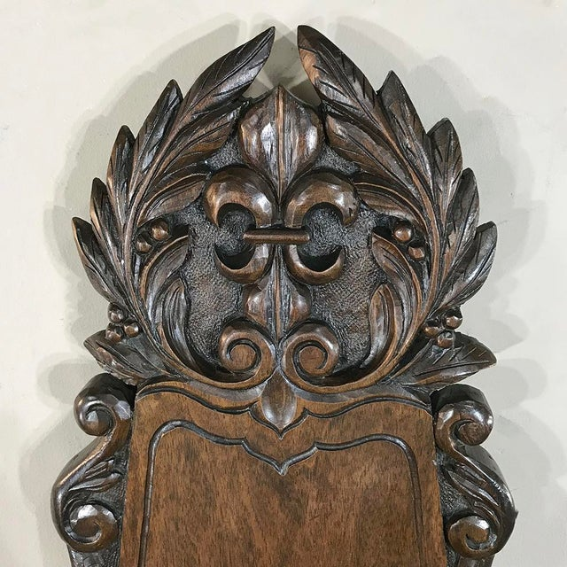 Copper 19th Century French Fleur De Lys Embossed Copper Wall Fountain on Original Wood Plaque For Sale - Image 7 of 12