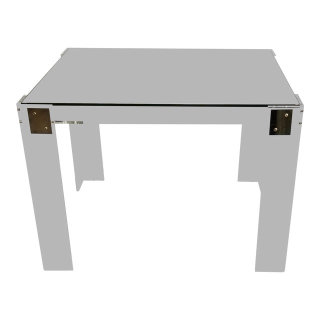 Interlude Home Acrylic Backgammon Table With Brass and Silver For Sale