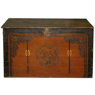 Antique Hand-Painted Mongolian Trunk For Sale