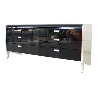 Black 1980's Lacquered Chrome Six Drawer Dresser For Sale